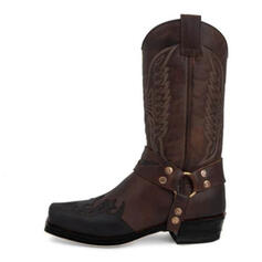 Women's Leatherette Chunky Heel Mid-Calf Boots Square Toe With Embroidery shoes