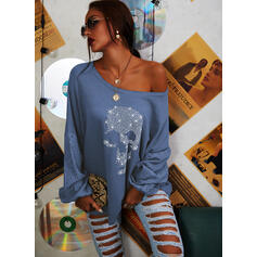 Print Hollow-out One-Shoulder Long Sleeves Casual Blouses