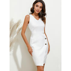 Solid Sleeveless Bodycon Knee Length Party Dresses