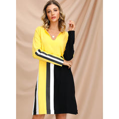 Color-block Long Sleeves Shift Knee Length Casual Dresses