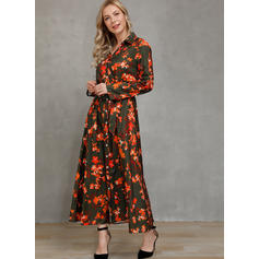 Print/Floral Long Sleeves A-line Casual/Elegant Midi Dresses
