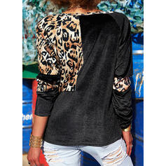Leopard Round Neck Long Sleeves Button Up Casual Blouses