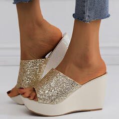 Women's PU Wedge Heel Sandals Wedges Peep Toe Slippers With Sequin Sparkling Glitter shoes