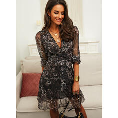 Print/Floral Long Sleeves A-line Above Knee Casual Wrap/Skater Dresses