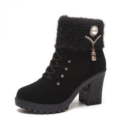 Women's Leatherette Chunky Heel Martin Boots Low Top With Buckle Lace-up Solid Color shoes