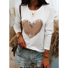 Print Sequins Heart Round Neck Long Sleeves Casual T-shirts