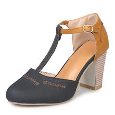 Women's Canvas Chunky Heel Sandals With Buckle shoes
