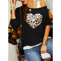 Leopard One-Shoulder Long Sleeves Casual Blouses