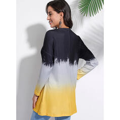 Tie Dye Round Neck Long Sleeves Casual Knit Blouses