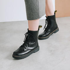 Women's Leatherette Low Heel Boots Ankle Boots With Lace-up shoes