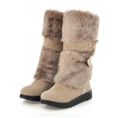 Women's PU Low Heel Mid-Calf Boots Snow Boots With Faux-Fur shoes
