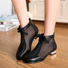 Women's Real Leather Low Heel Boots With Others shoes