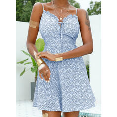 Print/Floral Sleeveless A-line Above Knee Sexy/Vacation Dresses