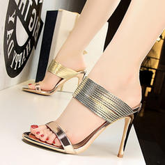 Patent Leather Stiletto Heel Sandals Pumps Peep Toe Slippers With Others shoes