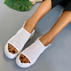 Women's Cloth Mesh Chunky Heel Sandals Peep Toe With Hollow-out Velcro shoes