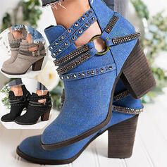Women's PU Chunky Heel Ankle Boots Pointed Toe With Rhinestone Buckle shoes