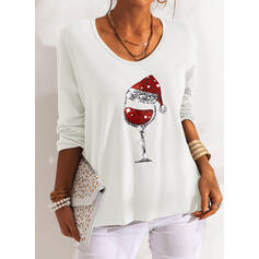 Sequins V-Neck Long Sleeves Casual Christmas Knit T-shirts
