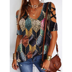 Geometric Print Leopard Cold Shoulder Short Sleeves Casual Blouses