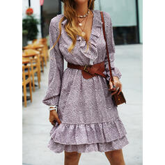 Print Long Sleeves A-line Above Knee Casual Skater Dresses