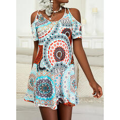 Print/Floral Short Sleeves Cold Shoulder Sleeve Shift Above Knee Casual Tunic Dresses