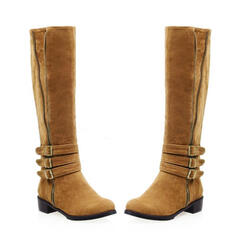 Women's PU Low Heel Mid-Calf Boots Round Toe With Ruched Solid Color shoes