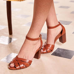 Women's PU Chunky Heel Sandals Pumps Heels With Buckle shoes