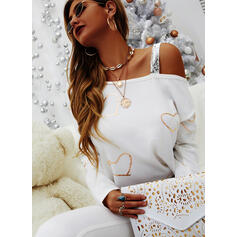 Print Sequins Heart One Shoulder Long Sleeves Casual Blouses