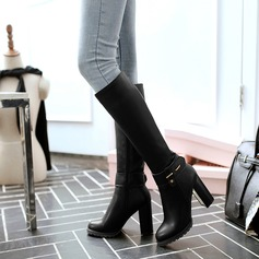 Women's Leatherette Chunky Heel Boots Knee High Boots With Rivet Buckle Zipper shoes