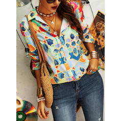 Geometric Print Lapel 1/2 Sleeves Button Up Casual Shirt Blouses