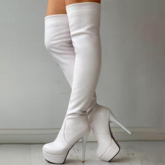 Women's PU Chunky Heel Over The Knee Boots Heels Round Toe With Solid Color shoes