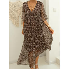 Print 3/4 Sleeves A-line Casual Maxi Dresses