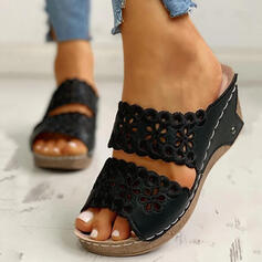 Women's PU Wedge Heel Sandals Wedges Peep Toe Slippers Heels With Hollow-out shoes