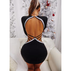 Sequins/Color Block/Backless Long Sleeves Bodycon Above Knee Sexy/Party Dresses