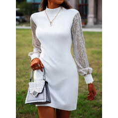 Sequins Long Sleeves Shift Above Knee Casual Sweater Dresses
