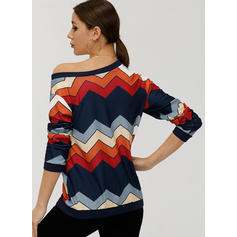 Striped One-Shoulder Long Sleeves Casual Knit T-shirts