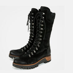 Women's Leatherette Chunky Heel Mid-Calf Boots Round Toe Martin Boots With Lace-up Solid Color shoes