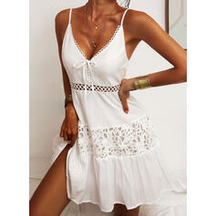 Lace/Solid/Lace-up Sleeveless A-line Above Knee Little Black/Casual/Vacation Slip/Skater Dresses