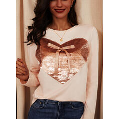 Sequins Heart Bowknot Round Neck Long Sleeves Casual T-shirts