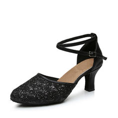 Women's Ballroom Swing Heels Leatherette Sparkling Glitter With Ankle Strap Latin