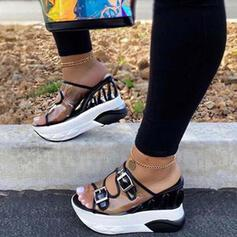 Women's PU Wedge Heel Sandals Platform Peep Toe With Hollow-out shoes