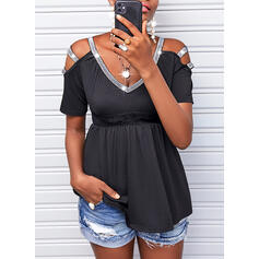 Solid Lace Sequins Cold Shoulder Short Sleeves Casual Blouses