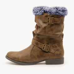Women's PU Chunky Heel Snow Boots Martin Boots Round Toe With Buckle Faux-Fur shoes
