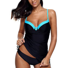 Solid Color Strap Elegant Plus Size Tankinis Swimsuits