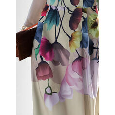 Print/Floral Long Sleeves A-line Skater Party/Elegant Maxi Dresses