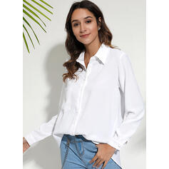 Solid V-Neck Long Sleeves Button Up Casual Shirt Blouses