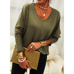 Solid V-Neck Long Sleeves T-shirts