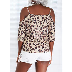 Leopard Lace-up Cold Shoulder 3/4 Sleeves Casual Blouses