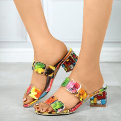Women's PU Chunky Heel Sandals Wedges With Splice Color shoes