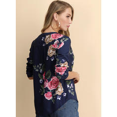 Print V-Neck 3/4 Sleeves Casual Shirt Blouses