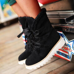 Women's Suede Wedge Heel Mid-Calf Boots Round Toe Winter Boots Snow Boots With Lace-up Solid Color shoes